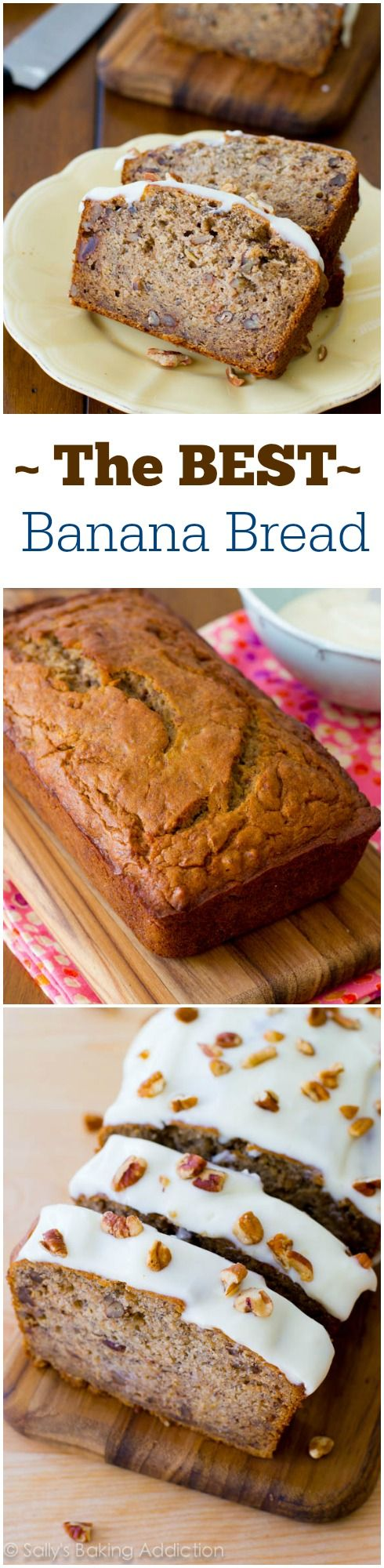 My absolute favorite banana bread recipe - top it with some sweet cream cheese frosting. The BEST bread you'll ever eat!