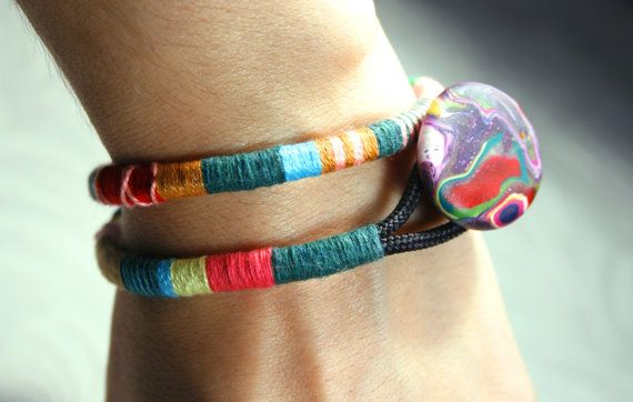 Double Wrap Bangle Color block by SanguineJewelry on Etsy