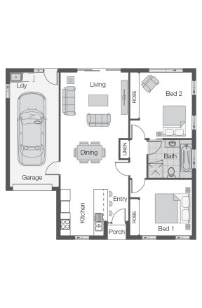 Rio Floor Plan by Wilson Homes - Unit/Villa Range - The Rio design offers two bedrooms with built-in robes, open plan living area and single Garage #unitfloorplan #wilsonhomes