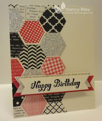 handmade birthday card ... i STAMP by Nancy Riley ... left side paved in punched hexagons ... red, white and black ,,,  luv the Silver Glimmer paper mixed with book print paper and stamped designs from Six Sided Sampler ...  fun font in birthday sentiment popped on double fishtail banners ,,, Stampin' Up!