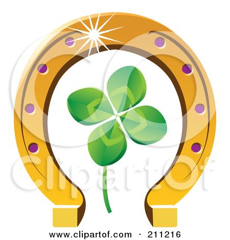 Royalty-Free (RF) Clipart Illustration of a Four Leaf Clover And Horseshoe by Eugene