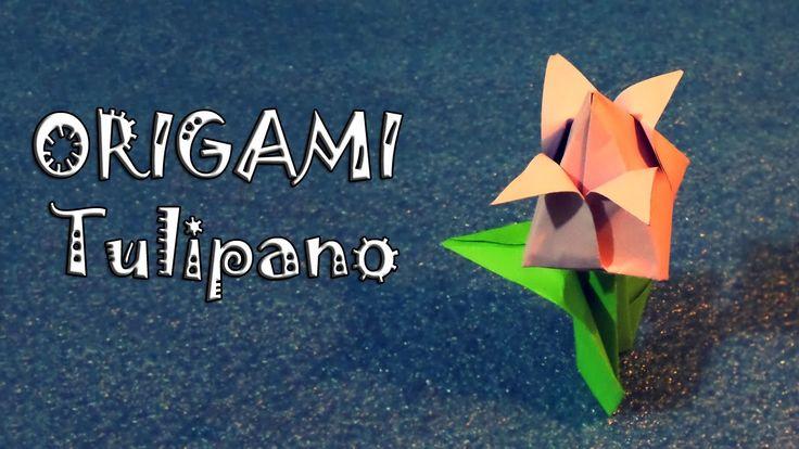 Origami, tulipano di primavera di carta, idea festa della donna, DIY - how to make a tulip flower