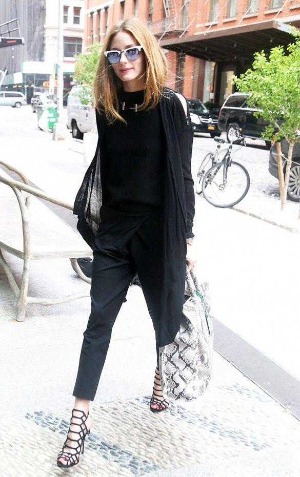 Celebs Wear All Black in the Summer via @WhoWhatWear - Olivia Palermo