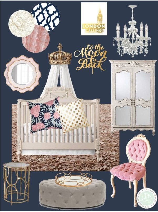 #RoyalBaby Charlotte inspired this Royal Nursery, royal nursery, princess nursery, navy pink and gold nursery, royal baby nursery inspiration