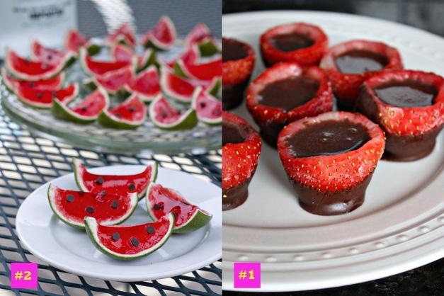 Watermelon jello shots  Filled strawberry shots