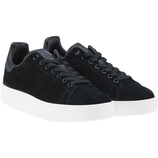 Adidas Stan Smith Bold Sneakers (317.635 COP) ❤ liked on Polyvore featuring shoes, sneakers, black, round toe sneakers, black leather sneakers, leather lace up sneakers, leather shoes and adidas originals shoes