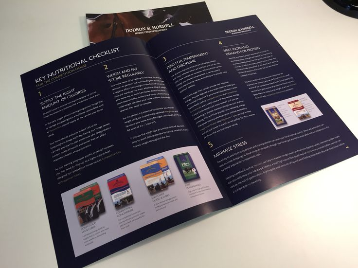 Horse feed A3 folded to A4 fact sheets for Dodson & Horrell