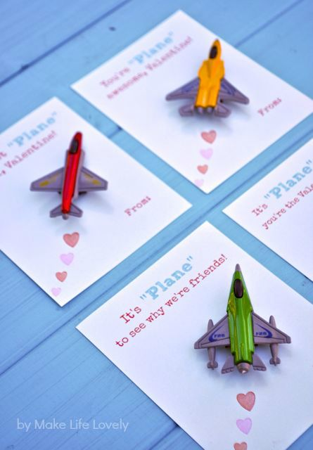 Free Printable DIY Toy Plane Valentines Check dollar store for packs of toy planes :)