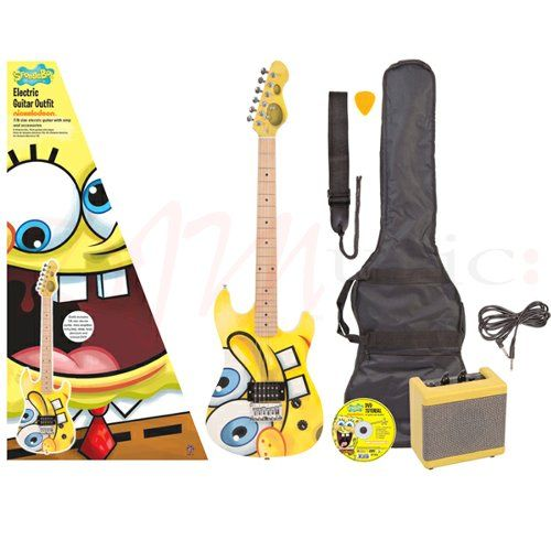 Spongebob 7/8 Size Electric Guitar - The guitar is shaped in the classic electric guitar twin-cutaway design style, with forearm chamfer and rear ribcage contour, is dead easy to get on with and great fun to play, too. Sounds great as well, with a meaty single humbucking pickup controlled by straightforward Volume and Tone rotary controls, with the output jack socket located on the lower bout of the guitar. Nice maple neck and fretboard, with six adjustable fully-enclosed machine heads.