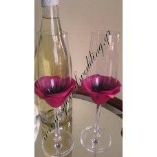Ποτήρι σαμπάνιας γάμου κόκκινη παπαρούνα Champagne glass Red poppy