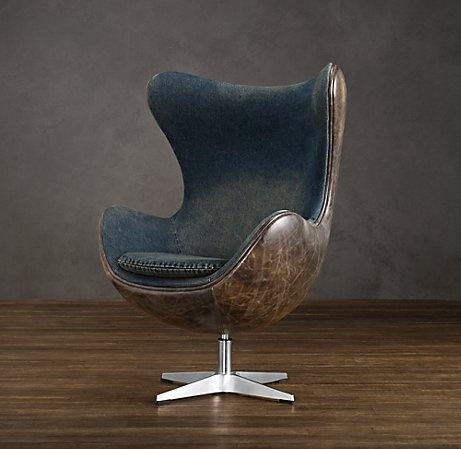 Like the combo of blue and brown. Restoration Hardware - Copenhagen Chair Denim