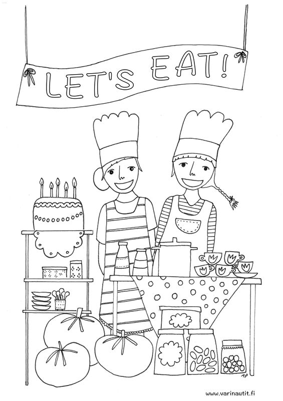 FREE printable colouring picture from the colournauts, dinner and food