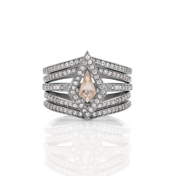 Kite engagement ring in morganite surrounded by diamonds. Shown with 4 curved eternity bands.  www.meadowlarkjewellery.com