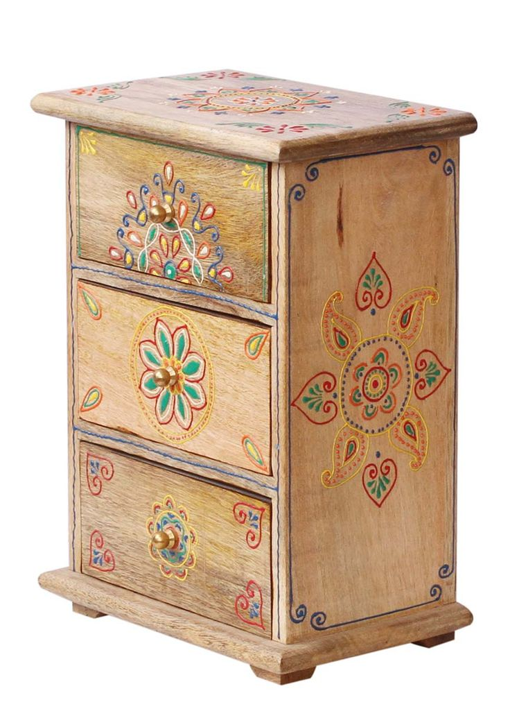 """Bulk Wholesale Handmade 11"""" Wooden Jewelry Box with 4 Chest Drawers in Natural-Wood Color Enhanced with Old-World Cone Painting in Bright Colors & Golden Metal Knobs – Antique-Look Boxes from India"""