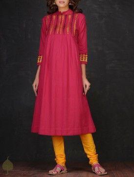 Pink-Yellow Mandarin Collar Embroidered Cotton Kurta by Jaypore