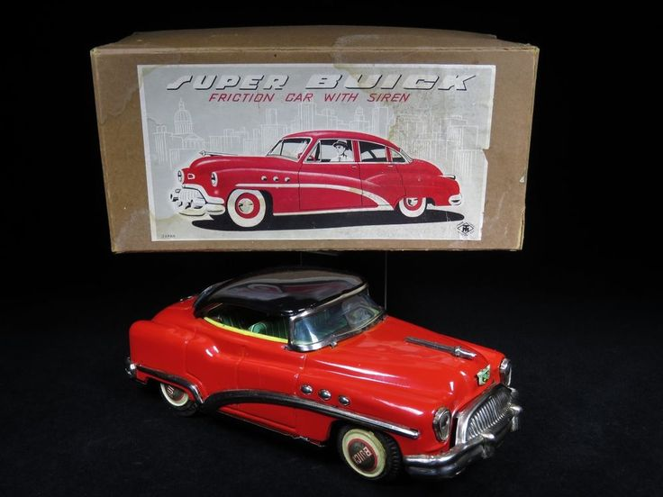 "RARE MIB VINTAGE 1951 SUPER BUICK SEDAN 11"" TIN FRICTION CAR M.T. MASUDAYA JAPAN"