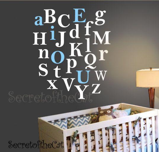 Vinyl Wall Decal Alphabet AZ Kids Letters Decals by secretofthecat