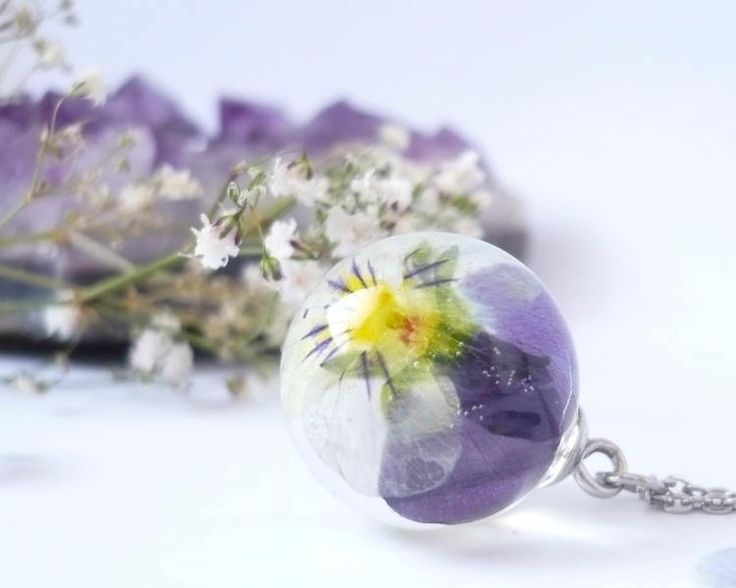 Pansy Necklace - Pansy Jewelry - Pressed Flower Necklaces - Viola Pandant - Resin Necklace - Flower Sphere Necklace - Pansy Sphere Necklace by FlowerPoems on Etsy