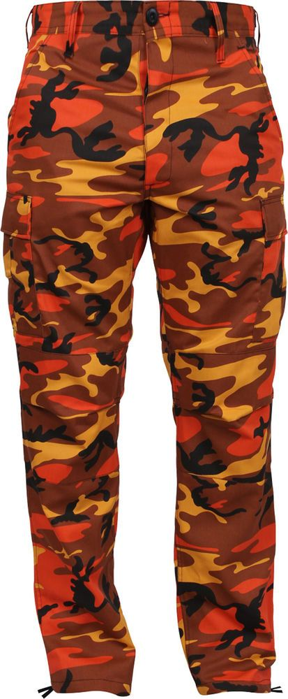 Mens Savage Orange Camouflage Cargo Army Camo Fatigues Military BDU Pants   Rothco  Cargo 4317a1bd4af