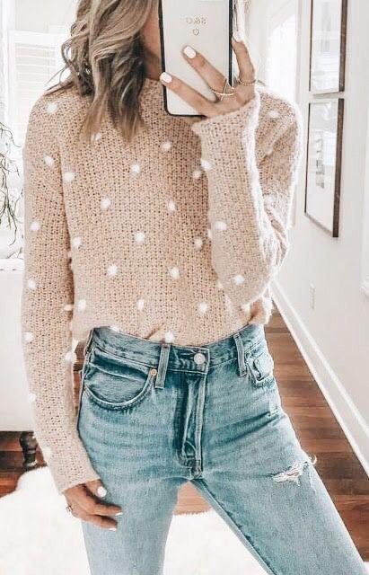 Tan cream polka dotted sweater 299431305