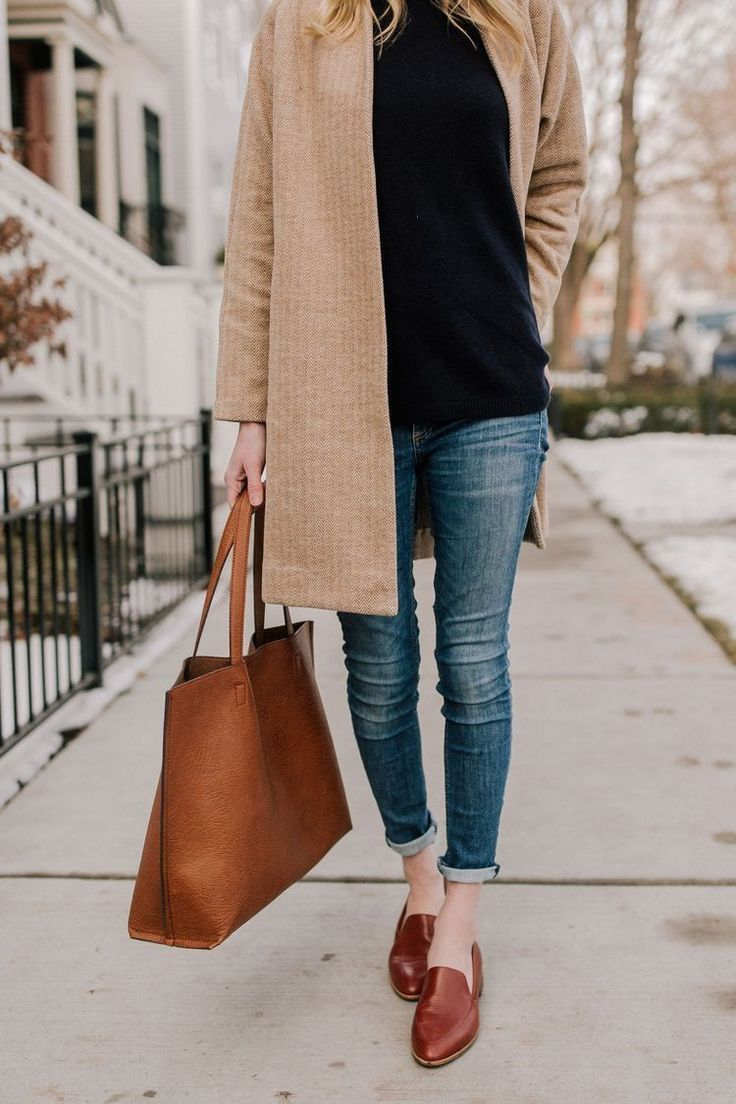Perfect fall outfit. Pointed toe loafers, skinny jeans, grey sweater jacket, bla...