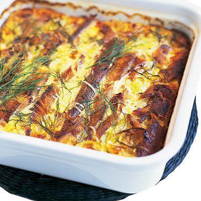Böcklinglåda med potatis - 4 portioner 600 g böcklingar 5 kokta, skivade potatisar 0,5 tunt skivad purjolök 3 ägg 3 dl mjölk 1 krm salt 1 krm vitpeppar 1 msk klippt dill