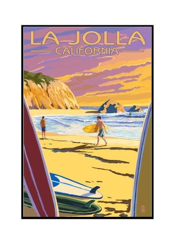 La Jolla, California - Beach & Surfers - Lantern Press Artwork (12x18 Framed Gallery Wrapped Stretched Canvas), Multi