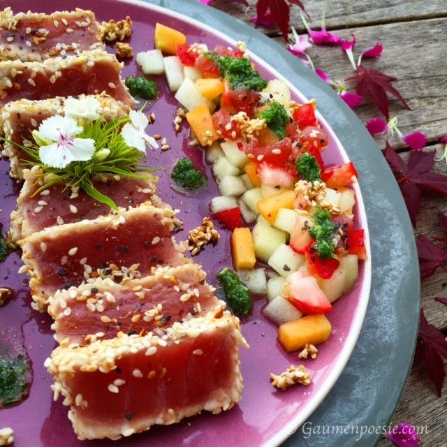 Thunfischsteak mit Melonensalat | Gaumenpoesie
