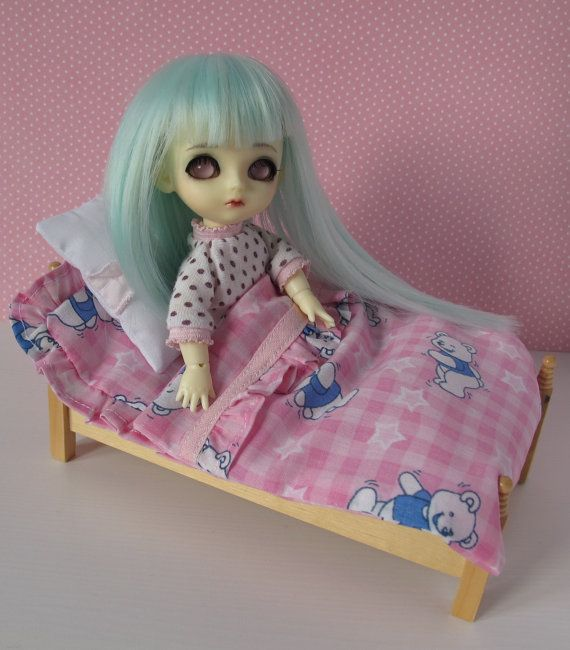 pink doll bedding for Lati yellow pukifee and by EveryDollsDream