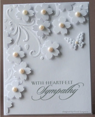 handmade sympathy card from Our Little Inspirations .... white on white ... luv the little punched sakura blossoms with pearl centers ...