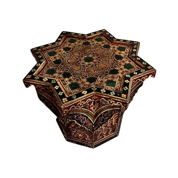 Pre-Owned Hand-Carved Moroccan Side Table ($2,265) ❤ liked on Polyvore featuring home, furniture, tables, accent tables, octagon end table, wood side table, painted side tables, hand carved table and wooden accent table