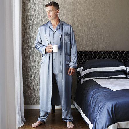 Gingerlily Men's Silk Dressing Gown - Grey at Amara