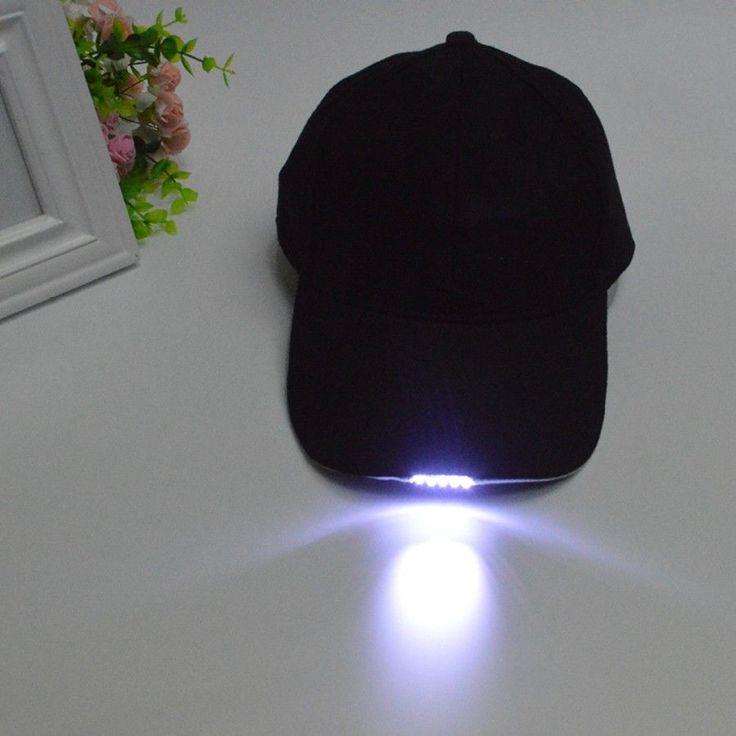 Black LED Flashlight Hat Bike Cycling Caps Night Walking Hiking Fi