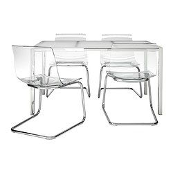 TORSBY/TOBIAS table and 4 chairs, clear, glass white