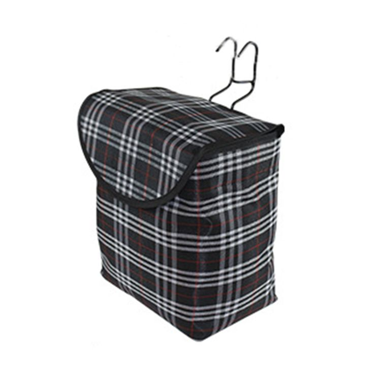 10L Folding Front Canvas Basket Bag for Bike Handlebar Storage Basket Carrier Solid Grid Bicycle Bucket with Cover