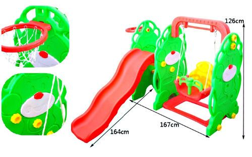 Children Garden Swing 3in1 Play Center Kids Outdoor Playground Slide Basketball  #GardenToys