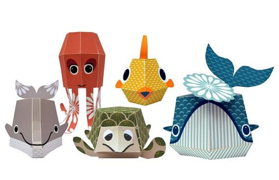 The Marine Team - Printable Paper Animal Kit via Etsy - Mibo Studio