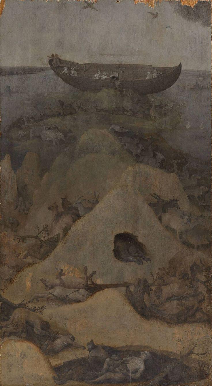 De zondvloed circa 1515 Jheronimus Bosch Waarschijnlijk hebben de paneeltjes ooit als zijvleugels van een triptiek gefunctioneerd. Het rechterpaneel laat de situatie na de zondvloed zien: de ark van Noach is gestrand in een landschap vol verdronken mensen en dieren. Het linkerpaneel met zijn helse tafereel zou de verdorven toestand van de aarde voor de zondvloed kunnen verbeelden. De medaillons op de achterzijde verwijzen waarschijnlijk naar andere bijbelteksten.
