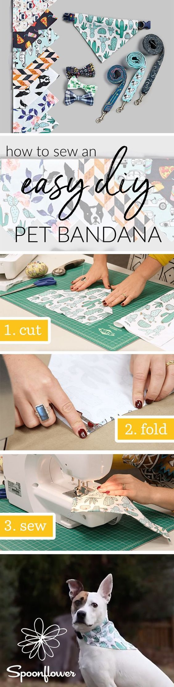 See How to Sew an Easy Pet Bandana | Video Tutorial – Want to add a little flair or a splash of color to your pet's collar? As easy as they are cute, this DIY pet bandana is guaranteed to have you and your pups jumping for joy. And with afree downloadable PDF patternand video tutorial, you'll be surprised how fast this project sews up. Grab your favorite fat quarter of fabric and get started! #diypet #sewing #diy #tutorial #diypetproject #pets #doglover #dressyourdog #dogstyle – Patrician