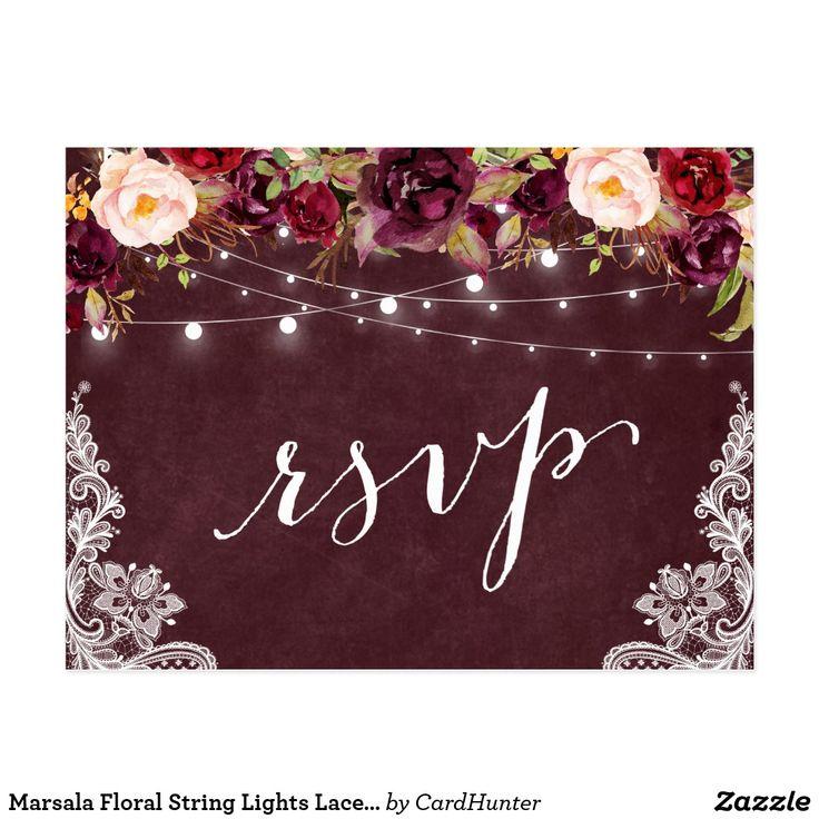 Marsala Floral String Lights Lace Wedding RSVP