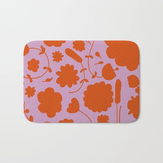 floral pink and orange Bath Mat