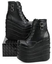 Les femmes bottes blanc / noir Cosplay bottes bout carré coins plate - forme en cuir cheville bottes femmes chaussures d'hiver 11 cm - 16 cm(China (Mainland))