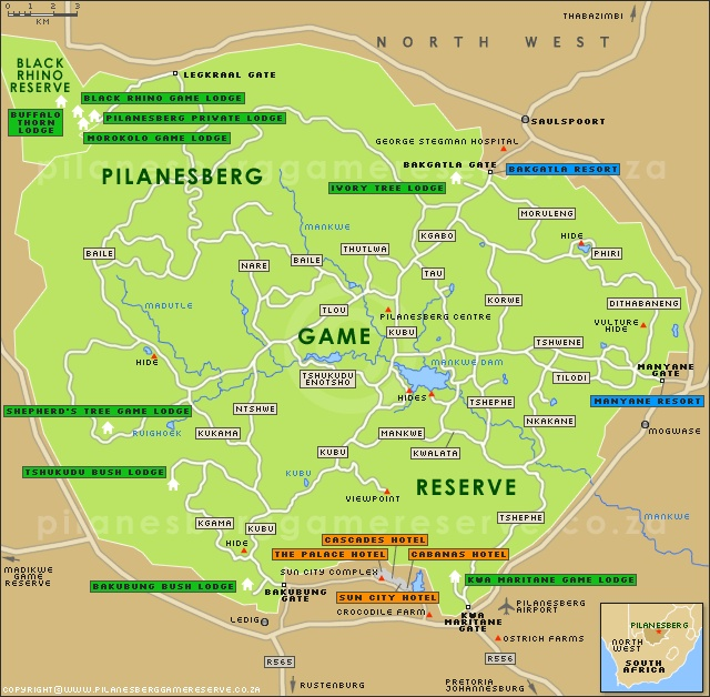 Sun City, Pilanesberg Game Reserve, Madikwe Game Reserve Accommodation Map
