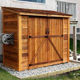 Contemporary Sheds by Outdoor Living Today.  I hate cluttering up my garage. Just the right size for my garden supplies and not theat tacky plastic.