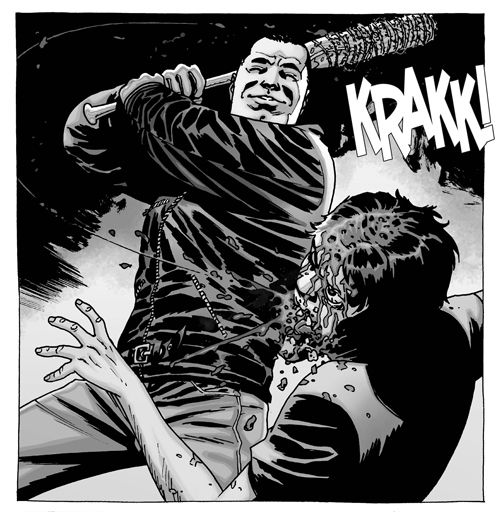 After the Governor, the next major antagonist in Robert Kirman's comics is the brutal warlord Negan, a profanity-spewing psychopath whose favorite