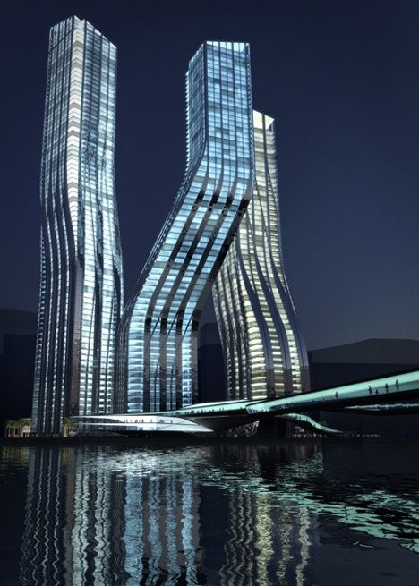 Dancing Towers, Dubai - I don't understand how this tower supports the upper tiers...but I'm not an architect - pretty cool