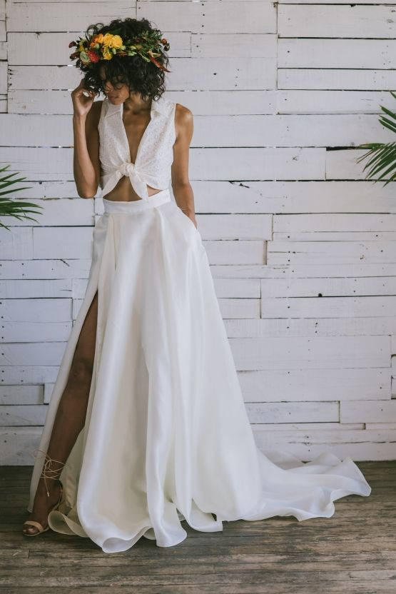 This tropical Brooklyn photoshoot is why we love bridal separates so much! | Crop top wedding dress, Tropical wedding dresses, Bridal separates