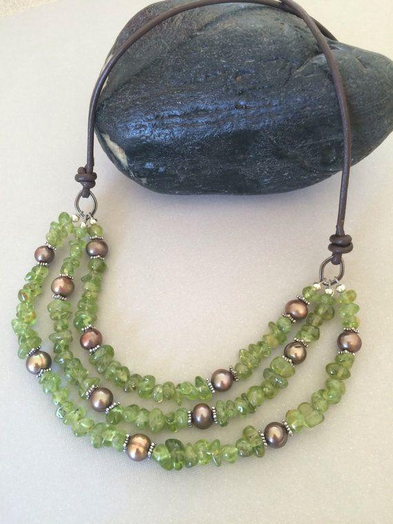 Multi Strand Necklace Peridot Necklace by ClassyChicDesigns4u