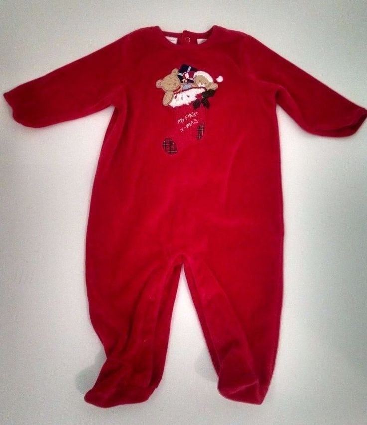 First Impressions Baby Christmas Pajamas 3-6M Red Velour Toys Stocking Footies #FirstImpressions #OnePiece