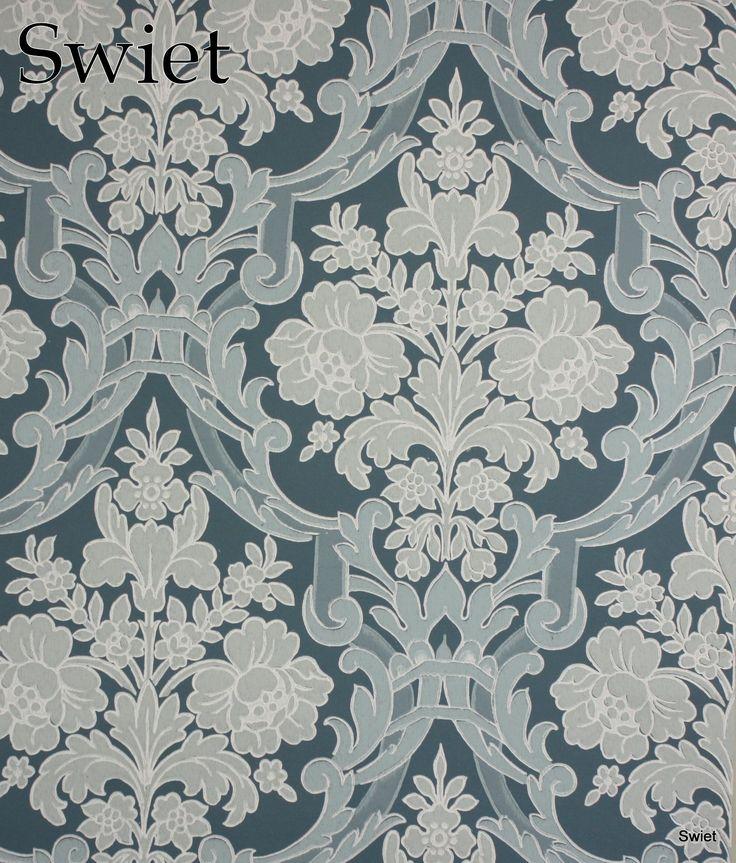 IJsblauw barok behang